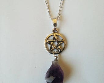 Amethyst ♥ wicca pagan ♥ silver Pentacle pendant