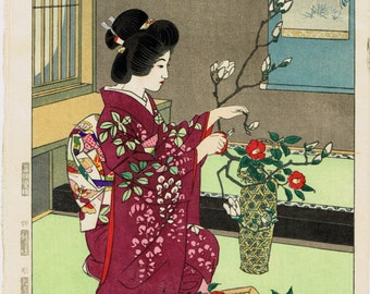 "Japanese Ukiyoe, Shin-hanga, Woodblock print, antique, Kasamatsu Shiro, ""Flower arrangement"""