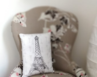 Eiffel Tower pillow, Paris pillow, kid room decoration, teenager, adults, bedroom pillow, child bed decoration, gray eiffel tower