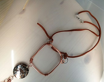 Brown Suede and Copper Wire and chain with accent Bead Pendant