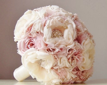 Fabric Wedding Bouquet, Weddings, Vintage Bridal Bouquet, Fabric Flower Bouquet, Brooch Bouquet - this is a 50% DEPOSIT ONLY