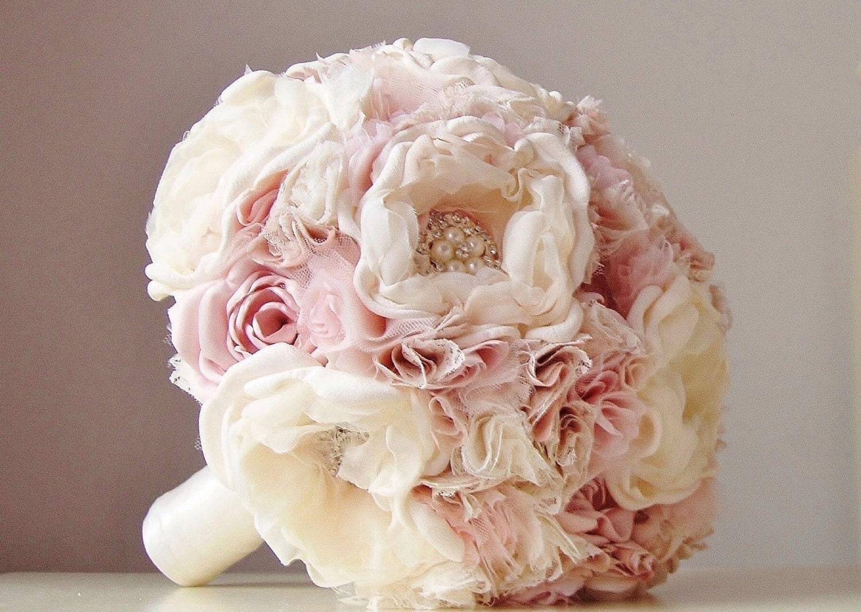 Wedding bouquet brooches vintage skyranreborn fabric wedding bouquet weddings vintage bridal bouquet izmirmasajfo