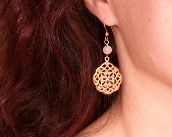 Gold plated earrings pink 14 k jewelry, oriental style, woman, mother's day gift idea