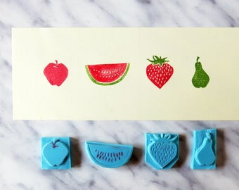 SET of 4 fruits handmade rubber stamps - apple, watermelon, strawberry, pear - Hand carved - DIY crafts
