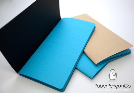 Midori Insert Bright Blue Travelers Notebook Black Brown Blue Regular Wide B6 Personal A6 Pocket Field Notes Passport/Grid Dots Lined Blank