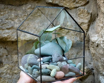Glass Terrarium Medium House Stained glass decoration Home decor Planter for indoor gardening Geometric house decor