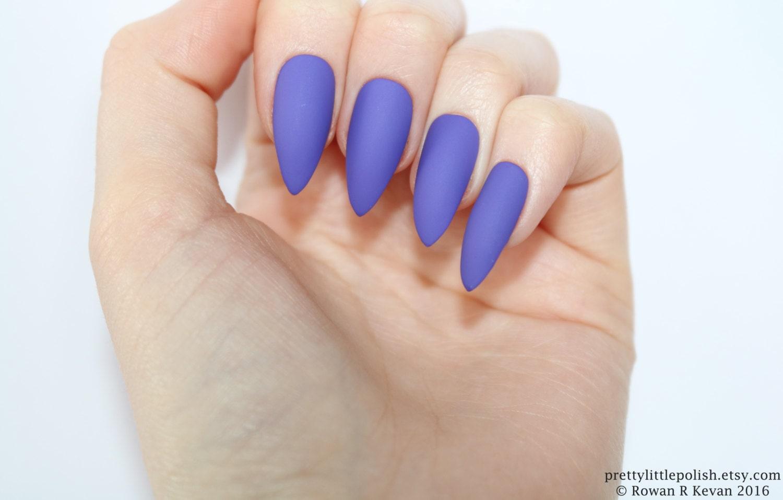 Stiletto nails Matte purple stiletto nails Fake nails Press
