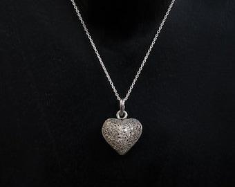 Silver Necklace, Silver Pendant, Silver Heart Necklace, Heart Pendant, Sterling Silver Granulation, Heart Pendant and Chain