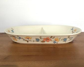 Vintage serving dish Himark Floral Mist by Saltera ceramic divided bowl