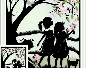 Greeting Card,sister greeting card,  Best Friend Friend Card,  Thinking of You Card, Silhouette, Paper Cut, Mother's Day Card, best friends