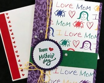 Mother's Day Card - Love Mom, Lavender Filigree, Red, Green