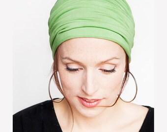 Apple Green HeadWrap  Fitness Headband Yoga Headband Wide Headband Workout Headband Shabby Chic Boho Headband Green Headband Womens Headband
