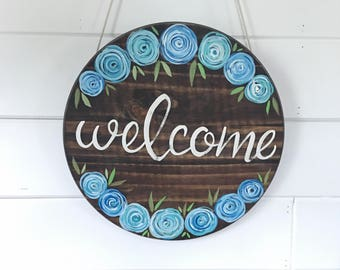 Hand Painted Round Welcome Sign // Housewarming Gift // Front Door Decor // Entry Way Decor // Home Sweet Home Sign // Home Sweet Home