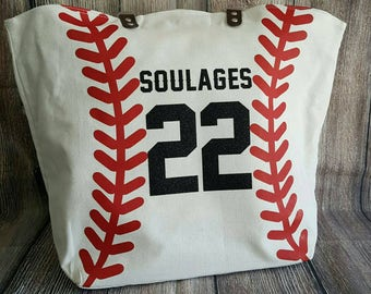 Personalized Baseball Mom Tote Bags White Baseball Bag Tote Bag Spirit Wear Custom Last Name Nickname Number