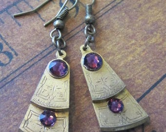 Steampunk - Pocket watch parts - Archaic - Amethyst - Steampunk Earrings - Repurposed art