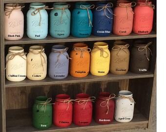 Mason Jars Painted Jars Quart Size Pint Size Wide Mouth Jars Distressed Jars Vases Kitchen Utensil Holder Desk Decor Bathroom Accents