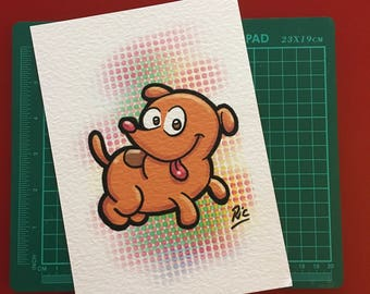 Art Print on card signed by Ric Lumb - Puppy
