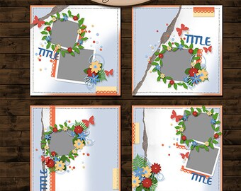 Digital Scrapbooking, Layout Template Set: Enchanted