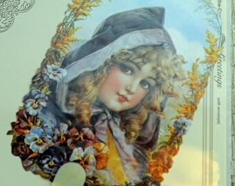 Fan - Girl in Cloak Early 20th Century Design Fan - Replica of 1901 Design