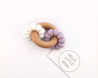 DUO Teether - Lavender and White Teether - Silicone and Beech Teething Ring - Silicone Bead Teether - Baby Teether - Wooden Teether
