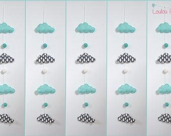Garland tassel - grey, turquoise and white - pattern drops and clouds, geometric