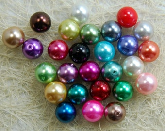 6 mm mixed  glass loose beads 80 beads