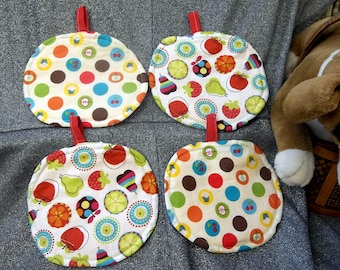 Table Protector Pot Pads Pillows, Assorted Fruit Circles Prints