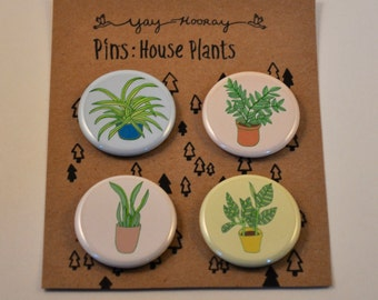 House Plants, pin button badges, magnets hand drawn illustrations