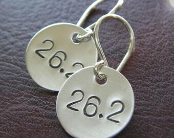 26.2 Marathon Earrings - Hand Stamped Sterling Silver - Running Charm Earrings - Marathon Runners Jewelry