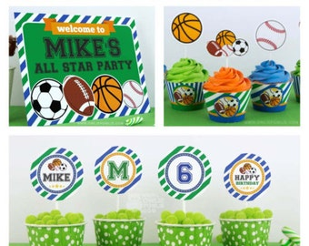 All Star Sport BIRTHDAY Party Printable Package & Invitation, INSTANT DOWNLOAD, You Edit Yourself with Adobe Reader