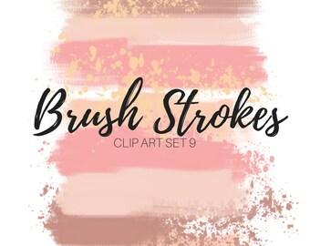 Pink Brush Stroke Clip Art - Pink ink blob clip art - paint blob clip art - ink splatter - commercial use