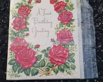 Vintage Birthday Card roses