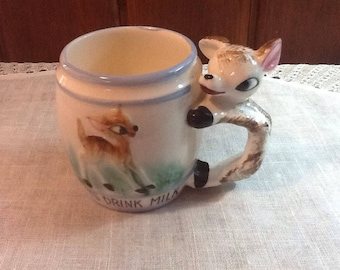 Vintage, Child's Milk Mug, Always Drink Milk,  Child's Mug,  Deer Handle