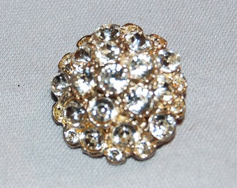Domed Rhinestone Brooch, Gold Tone, Vintage old jewelry