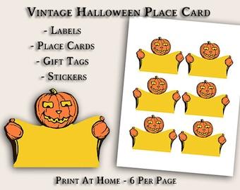Vintage Pumpkin Man Halloween- Place Cards - Labels - Tags - Instant Digital Image File Download