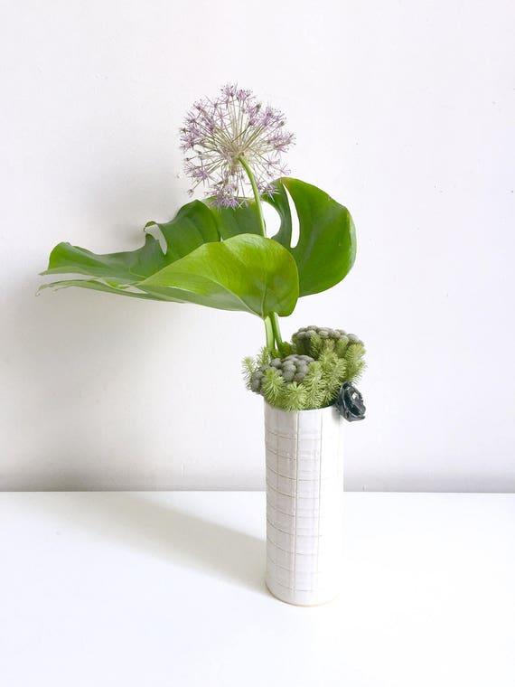 Plaid Vase with Black Flower