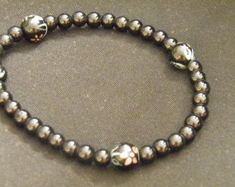 Black Glass Stretch Bracelet