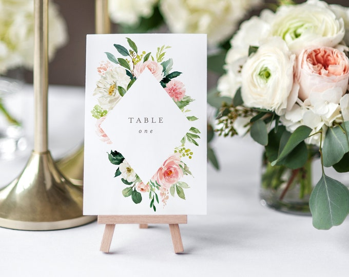 Featured listing image: Editable Template - Instant Download Spring Romance Table Numbers
