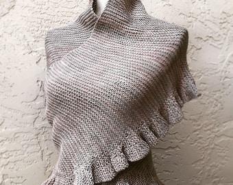 Jenny's Shawl Shawlette Outlander, Fichu Style, Hand Knit Merino Wool, 6 Color Options