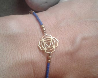 Lotus Charm Bracelet, Lapis Lazuli Charm Bracelet, Delicate Charm Bracelet, Delicate Chain Bracelet, Bronze Bracelet, Lotus Charm