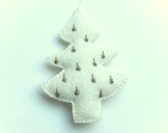 Gold-white Christmas tree ornament - felt ornaments - Christmas/Housewarming home decor - hand embroidered