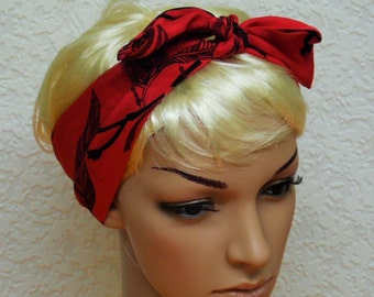 Tie up headband, head scarf, hair band, red headband, tie back head band, hair scarf 86 x 8 cm