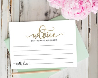 Advice Cards, Wedding Advice Template, Advice Printable, Advice for Bride and Groom | No. EDN 5128B Gold
