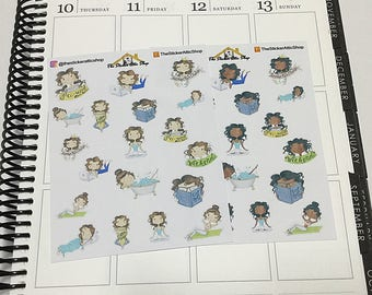 Character Planner Stickers, Combo Sampler Girl Character Stickers, Light or Dark Skin Tone