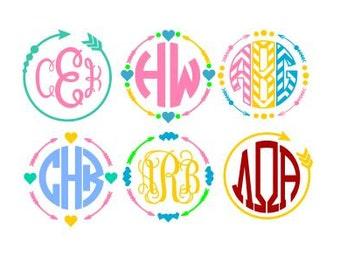 Set of 6 Circle Arrow Monogram Frames , SVG, Studio3, DXF, AI,Eps, ps, pdf Digital FIles