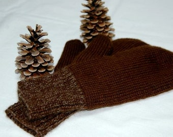 """Mittens for men - hand knit in pure qiviut (inner layer) and royal alpaca (outer layer) """"Mount Garibaldi"""" MADE TO ORDER"""