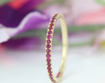 14k Pave Ruby Eternity Band in Yellow Gold, Ruby Eternity Band, Wedding Band, Ruby Ring, Anniversary Ring, Ruby Wedding Band, Ruby Band