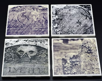 Cemetery Headstone Photo Coasters, set of 4, black and white photography, cemetery art