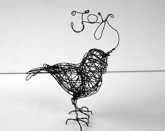 Unique Wire Bird Sculpture - Word Art - JOY