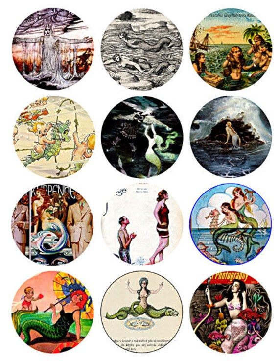 download collage sheet mermaids sea nymphs sirens vintage art clip art digital 2.5 inch circle images craft pendant pins magnet printable